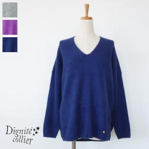 Dignite collier セーター ニット プルオーバー Vネック ラクーン ウール ディニテコリエ MB-803112|amico-di-ineya
