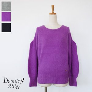 Dignite collier セーター ニット プルオーバー ボリュームスリーブ ウール クルーネック ディニテコリエ 803115|amico-di-ineya
