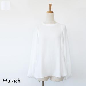 Munich ミューニック サテン ボリュームスリーブ ギャザー ブラウス MN181T01|amico-di-ineya