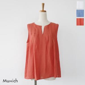 Munich (ミューニック) ノースリーブ シャンブレー ボイルリネン タック ブラウス MN191T62|amico-di-ineya
