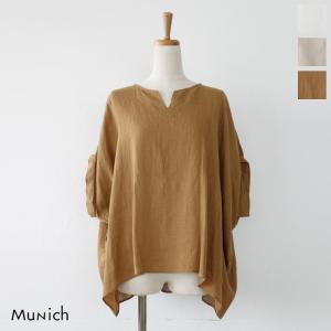 Munich (ミューニック) フレンチリネン キーネック ワイドシルエット ブラウス MN191T72|amico-di-ineya