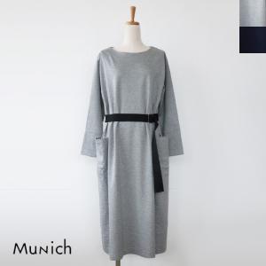 Munich ソフトポンチ ベルト 長袖 ワンピース|amico-di-ineya