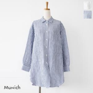 Munich (ミューニック) 長袖シャツ ビッグシルエット ストライプ リネン MN192T08|amico-di-ineya