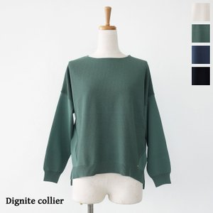 Dignite collier (ディニテコリエ) ニット プルオーバー 長袖 クルーネック サイドスリット MU-806022|amico-di-ineya