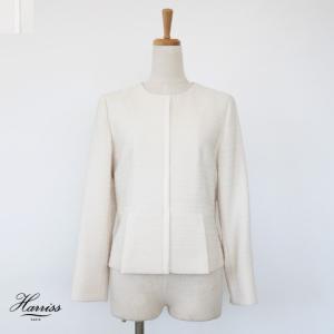 SALE [30%OFF] Harriss (ハリス) ノーカラー ツイード ショート ジャケット 裾プリーツ 返品不可|amico-di-ineya