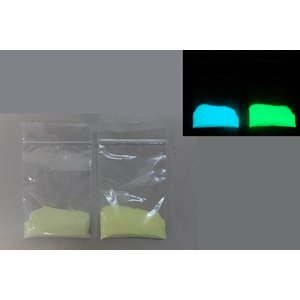 蓄光パウダー(顔料) 青緑色発光/黄緑色発光の2色セット 各25g 75~100μ|amiel