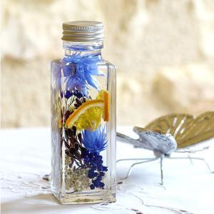 ハーバリウム ガラス 瓶 ボトル 角100ml キャップ銀 クリスマス 母の日 オイル ディスプレイ 花材