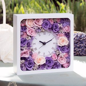 花時計白正方形 1コ <フラワーアレンジメント・プリザーブドフラワー・置時計・掛け時計>