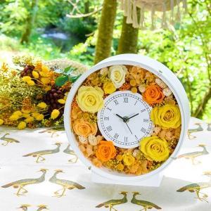 プリザーブドフラワー アレンジメント 置時計 フラワーアレンジメント 花時計白丸1コ クリスマス 母の日 掛け時計