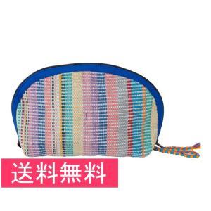 送料無料 シャプラニール 手織布のたっぷりポーチ 青 クラフトリンク 手作り フェアトレード|amisbazar-jp
