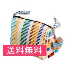 送料無料 シャプラニール カラフル手織ポーチ(マスコット付) クラフトリンク 手作り フェアトレード|amisbazar-jp