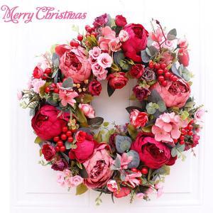 クリスマスリース クリスマス花輪 ドアリース 店舗 玄関 部屋 壁飾り 人工造花 飾り  北欧風 赤い 40cm|amistad-2