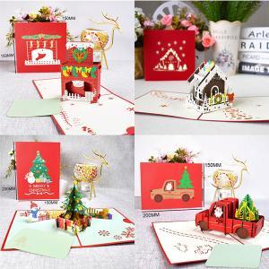 クリスマスカード 立体 3D クリスマスツリー ポップアップ サンタクロース おしゃれ プレゼント かわいい 飾り|amistad-2