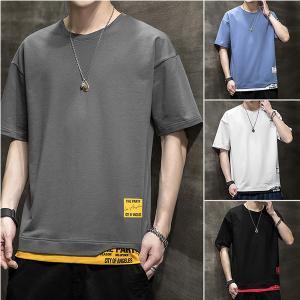 Tシャツ メンズ 無地 半袖 おしゃれ Tシャツ レイヤード風 クルーネック T-shirt ティーシャツ トップス 夏 スポーツ カジュアル 2021 ゆったり 20代 40代|amistad-2