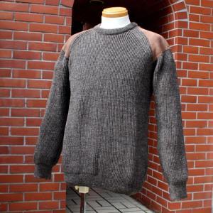 セーター メンズ パッチ ニット 羊毛 ウール 英国製 Cedar セダー パッチセーター 3色からお選びびいただけます。|ammax