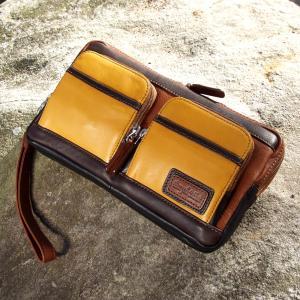 敬老の日 50%引き セカンドバッグ メンズ革鞄 ペニッシュミント ティーブラウン 箱付き ammax
