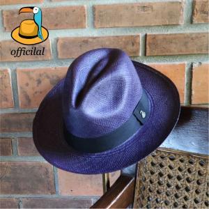 パナマハット エクアンディーノ クラッシック カラーコレクション ネイビーブルー ミディアムブリム メーカー証明書 オフィシャルバッグ ボックス|ammax