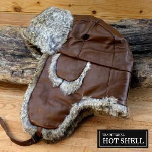 防寒帽子 被るなら本物 暖かさが断然違う 本ウサギ毛皮使用 ホットシェルレザー|ammax