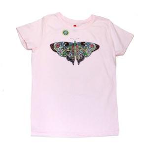 レディース Tシャツ リバティーグラフィックス アースアート バタフライ シルクプリントTシャツ|ammax