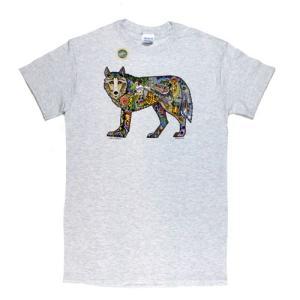 メンズ Tシャツ リバティーグラフィックス アースアートウルフ シルクプリント(EARTH ART WOLF)|ammax