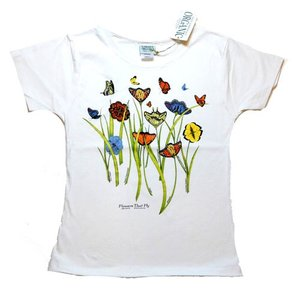 レディース Tシャツ リバティーグラフィックス フラワーザットフライ シルクプリントTシャツ|ammax