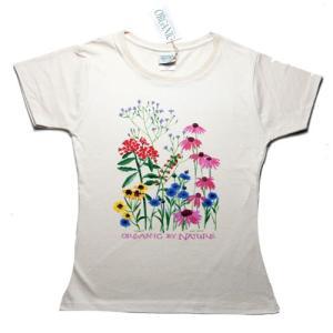 レディース Tシャツ リバティーグラフィックス オーガニックネイチャー シルクプリントTシャツ|ammax