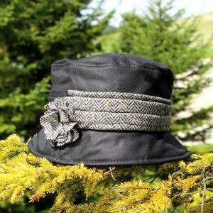 バケットハット アイルランド製 ケイトワックス仕上げ 人気のツイードバンドモデル ブラック|ammax