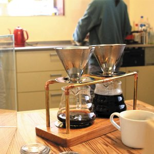 真鍮アーム コーヒースタンド コーヒードリッパー 豪華なダブルタイプ 水出しコーヒー対応 プロ|ammax