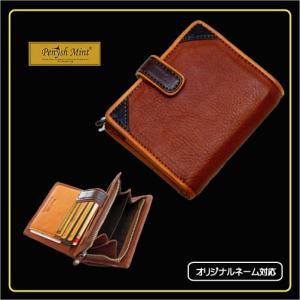 革財布 ペニッシュミント  メンズ 革 レザー 名入れ タック ブラウン 213 |ammax