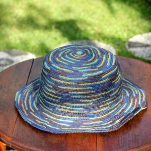 パナマ帽子 パナマハット エクアアンディーノ お洒落なラテッシャ ブルー|ammax