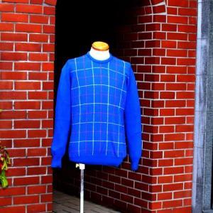 【HAWICK】英国製メンズcottonクルーネックネックセーター(柄)/Mサイズ/ブルーチェック|ammax