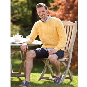 【HAWICK】英国製メンズcottonクルーネックネックセーター(CABLE)/Sサイズ/イエロー|ammax