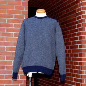 【HAWICK】英国製メンズラムウールセーター/オックスフォードブルー|ammax