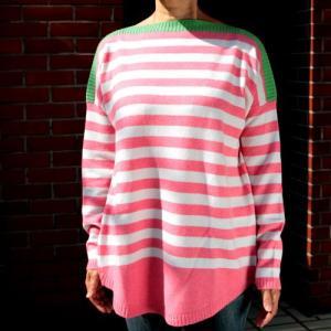 【Hawick】ワイドネックレディースセーター(ピンクストライプ)/Mサイズ|ammax