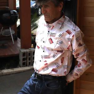 ドレス カジュアルシャツ マクロム カラープリントシャツ 5730|ammax