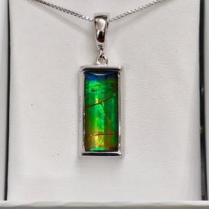 アンモライト シルバー ペンダント トップ 宝石 ジュエリー 長方形型 Aグレード AURORA p1334|ammolite-museum