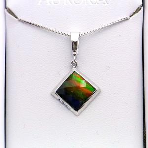 アンモライト シルバー ペンダント トップ 宝石 ジュエリー 正方形型 Aグレード AURORA p1335|ammolite-museum