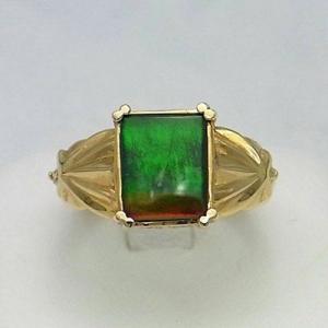 アンモライト 14金 ダイヤモンド リング 宝石 ジュエリー フラット スクエア型 Aグレード KORITE #11.5 r1106|ammolite-museum