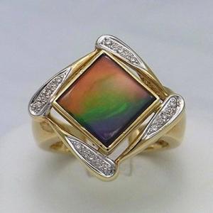 アンモライト 14金 ダイヤモンド リング 宝石 ジュエリー フラット スクエア型 AAグレード #16  KORITE r1132|ammolite-museum