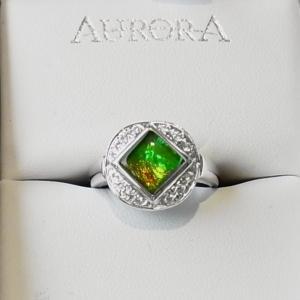 アンモライト シルバー リング 宝石 ジュエリー  AURORA #14 r1204|ammolite-museum