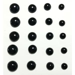穴なしビーズ 半球 8mm 10mm 12mm 14mm 各5個 計20個セット ブラック 不透明|amnetcity