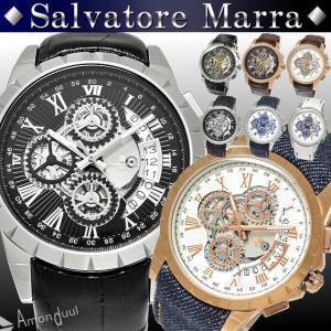 腕時計 メンズ 時計 クロノグラフ搭載 サルバトーレマーラ 革ベルト デニムベルト レザーベルト|amonduul