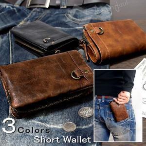 二つ折り財布/財布/メンズ財布/メンズ短財布/フェイクレザー/ヴィンテージ財布|amonduul