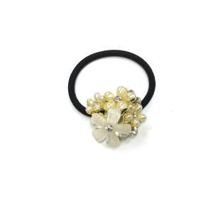 ヘアーアクセサリー ゴムボニー ポニーテール パールフラワー 小花ビジュー 可愛い 白い花 W3cm P-19004 amongre