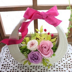 古希 喜寿 祝い お祝い 和風 プリザーブドフラワー 母の日 花 ギフト 母の日プレゼント 母の日アレンジメント 誕生日 「陶器の花かご」 ampoule-shop