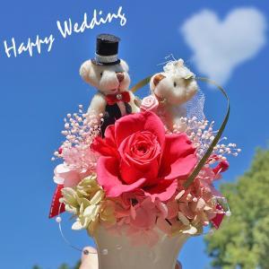 結婚式 電報 送料無料 祝電 結婚記念日 プリザーブドフラワー テディのフラワー結婚式