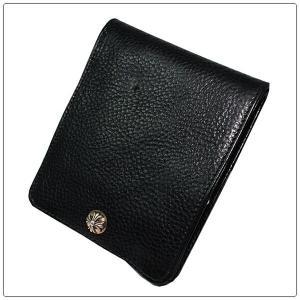クロムハーツ 財布(Chrome Hearts)ワンスナップ クロスボタンブラック ヘビーレザー