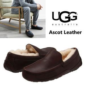 UGG  アグ メンズ ASCOT leather アスコットレザー スリッポン ローファー シープスキン 本革 ブラウン 正規品 送料無料 US直輸入|amscloset