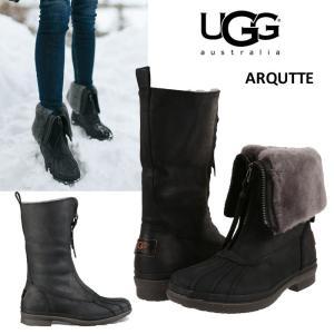 UGG  アグ  Arquette  ブラック ウォータープルーフレザー シープスキン 撥水 本革 セール 正規品 送料無料 US直輸入|amscloset