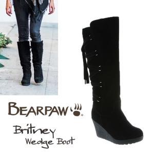 BearPaw ベアパウ Britney ブラック 本革 ウェッジ シープスキン バックレースアップ スエード ミドル丈 ロング 正規品 送料無料 US直輸入|amscloset